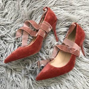JCrew Elsie Velvet ankle wrap pumps/ heels NEW